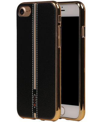 M-Cases Zwart Leder Design TPU back case hoesje voor Apple iPhone 7