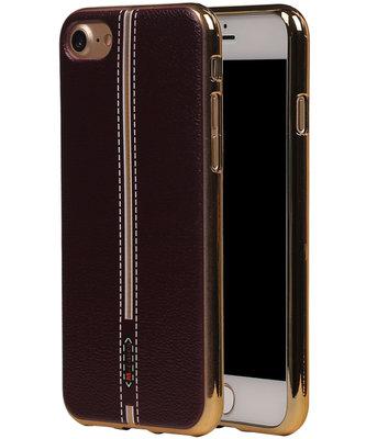 M-Cases Bruin Leder Design TPU back case hoesje voor Apple iPhone 7
