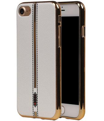 M-Cases Wit Leder Design TPU back case hoesje voor Apple iPhone 7