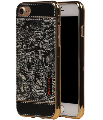 M-Cases Zwart Krokodil Design TPU back case hoesje voor Apple iPhone 7