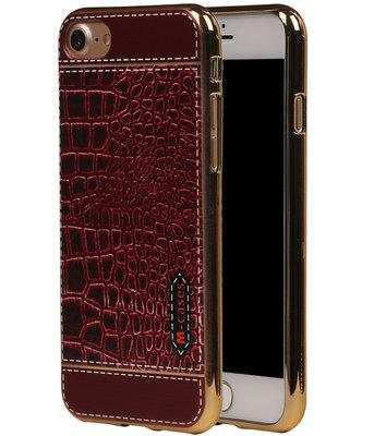 M-Cases Bruin Krokodil Design TPU back case hoesje voor Apple iPhone 7