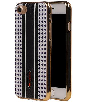 M-Cases Bruin Paars Ruit Design TPU back case hoesje voor Apple iPhone 7