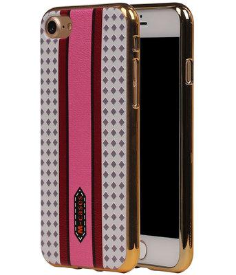 M-Cases Roze Paars Ruit Design TPU back case hoesje voor Apple iPhone 7
