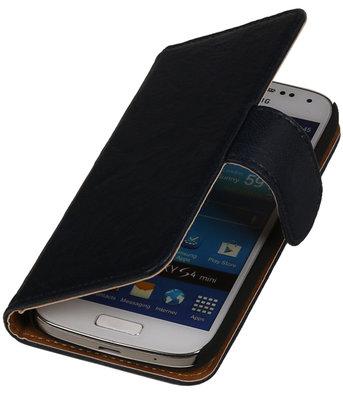 Donker Blauw Echt Leer Leder booktype wallet hoesje voor Huawei Ascend G525