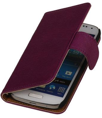 Paars Echt Leer Leder booktype wallet hoesje voor Huawei Ascend G525