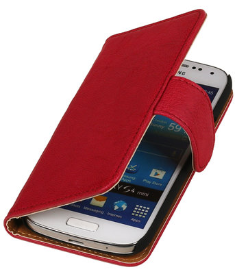 Roze Echt Leer Leder booktype wallet hoesje voor Huawei Ascend G525
