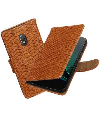 Bruin Slang booktype hoesje voor Motorola Moto G4 Play