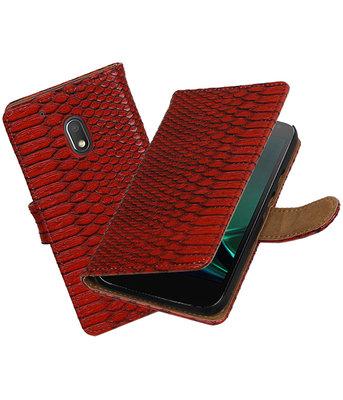 Rood Slang booktype hoesje voor Motorola Moto G4 Play