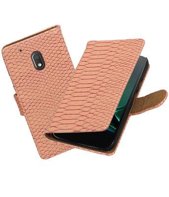 Roze Slang booktype hoesje voor Motorola Moto G4 Play