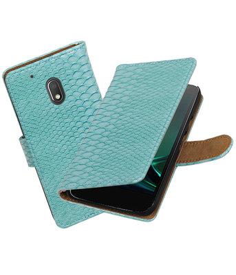 Turquoise Slang booktype hoesje voor Motorola Moto G4 Play