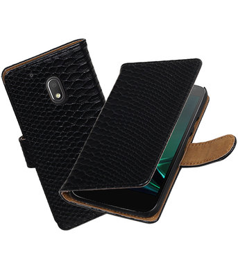 Zwart Slang booktype hoesje voor Motorola Moto G4 Play