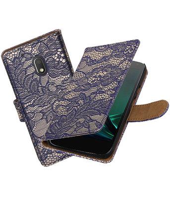 Blauw Lace booktype hoesje voor Motorola Moto G4 Play