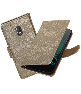Goud Lace booktype hoesje voor Motorola Moto G4 Play