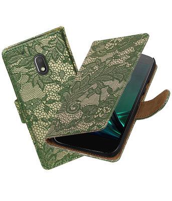 Donker Groen Lace booktype hoesje voor Motorola Moto G4 Play
