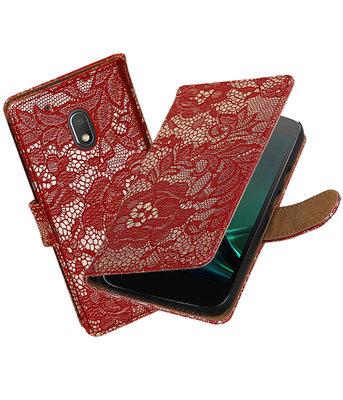 Rood Lace booktype hoesje voor Motorola Moto G4 Play