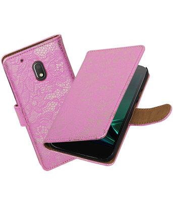 Roze Lace booktype hoesje voor Motorola Moto G4 Play