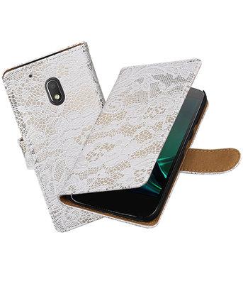 Wit Lace booktype hoesje voor Motorola Moto G4 Play