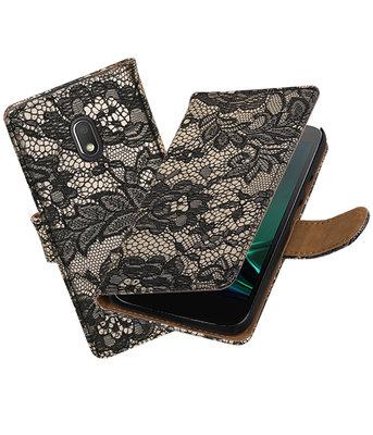 Zwart Lace booktype hoesje voor Motorola Moto G4 Play