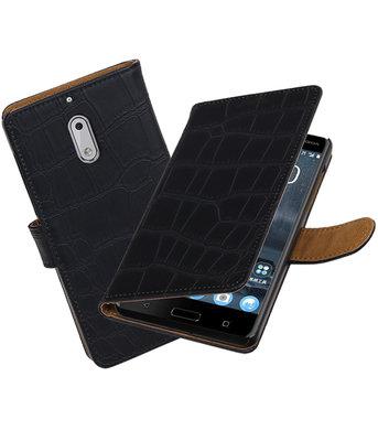Nokia 6 Krokodil booktype hoesje Zwart