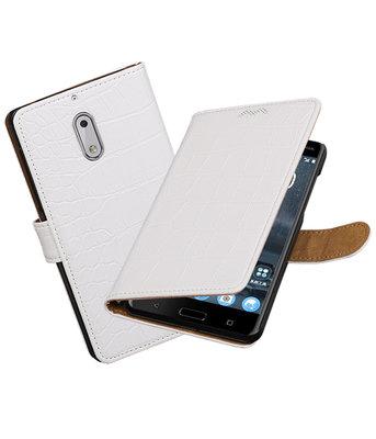 Nokia 6 Krokodil booktype hoesje Wit