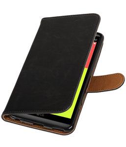 zwart pull up pu booktype wallet hoesje voor lg v20. Black Bedroom Furniture Sets. Home Design Ideas